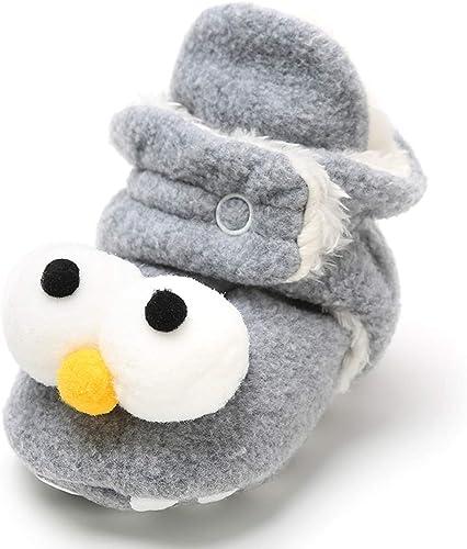vanberfia Unisex Baby Winter Cozy Fleece Lined Booties Anti-Slip Soft Sole Shoes for 0-18 Months