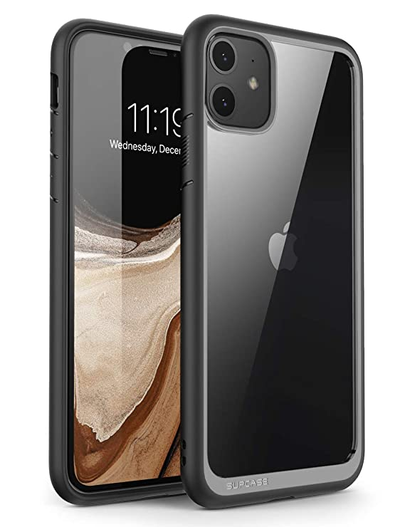 SUPCASE Unicorn Beetle Style Series Case Designed for iPhone 11 6.1 Inch (2019 Release), Premium Hybrid Protective Clear Case (Black)