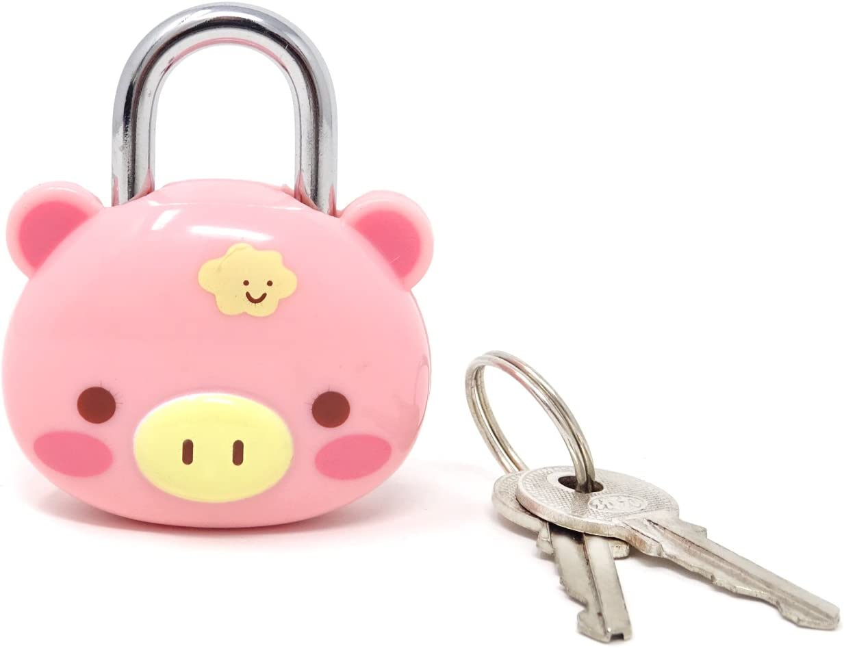 Honbay Cute Pink Pig Lock Padlock with Keys for Suitcases, Backpacks and Lockers