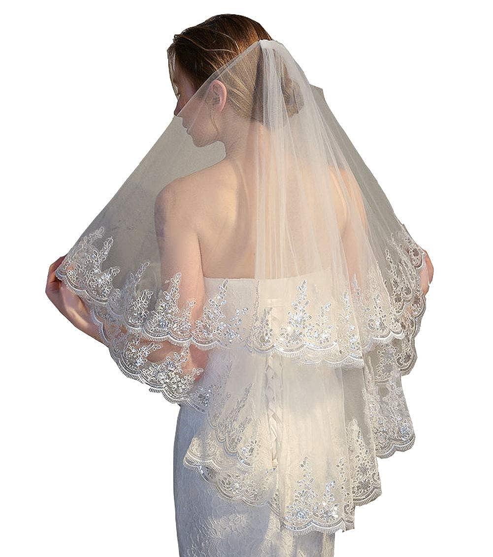 Womens Simple 2 Tier Cut Edge Bridal Wedding Veil with Comb Fingertip Length