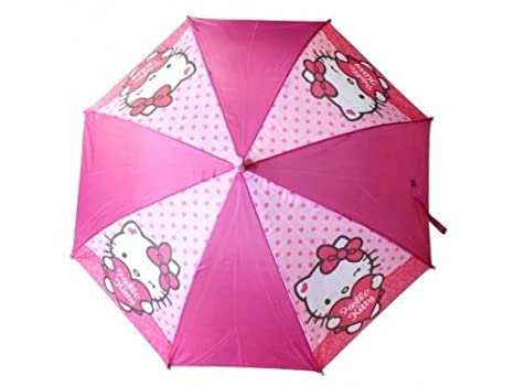 Paraguas Infantil 68cm Hello Kitty Automatico Radio 50cm Rosa