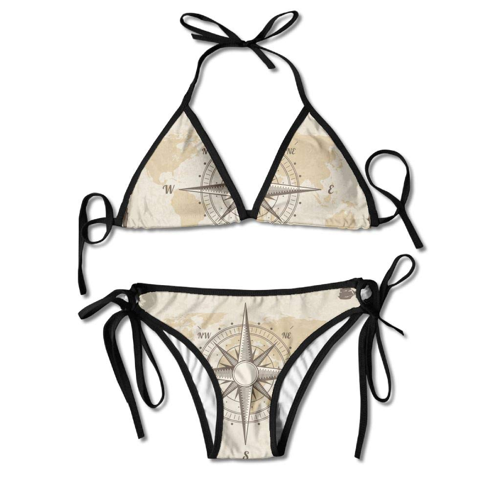 Womans Vintage Nautical Compass Old World Map Sexy 2-Piece Bikini Set Swimsuit Bathing Suits Padded Bra by KJDS