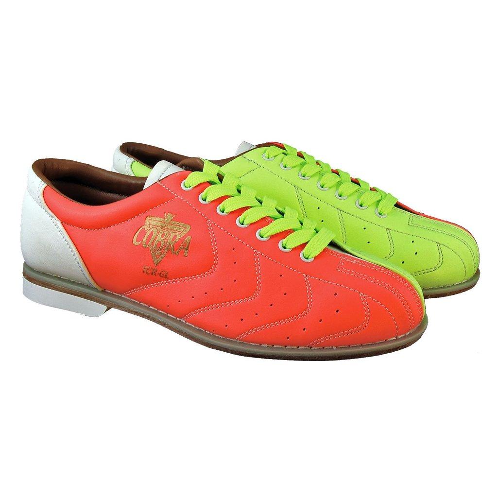 Bowlerstore Mens Glow TCR-GL Cobra Rental Bowling Shoes- Laces B00OEXAUZ4 5 M US|Neon Yellow/Orange/White