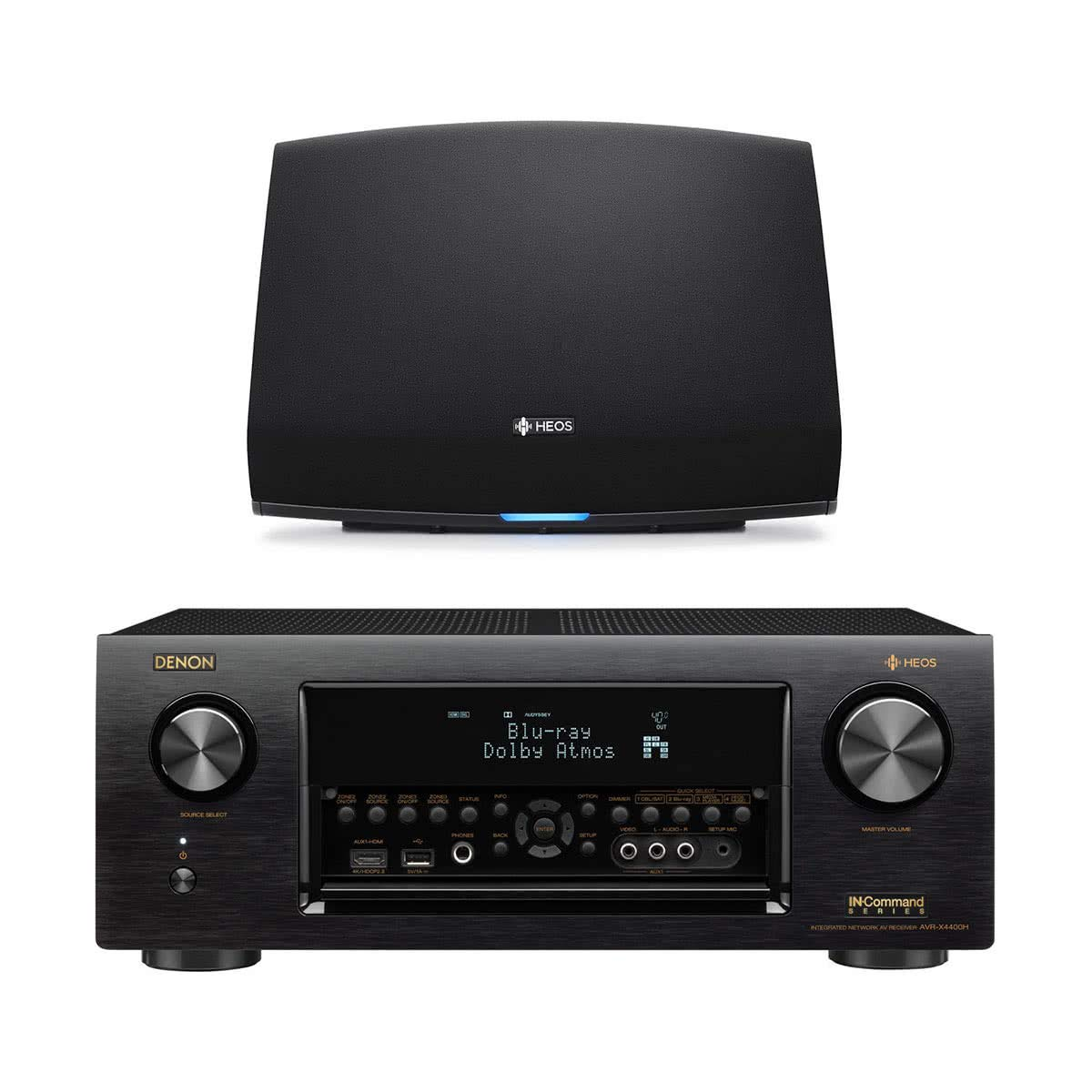 Denon AVR-X4400H 9 2 Channel Full 4K Ultra HD Network AV Receiver with HEOS  5 Wireless Streaming Speaker - Series 2 (Black)