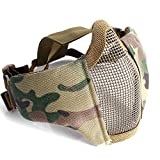 Half Face Protective Lower Mask Tactical Mesh Mask with Adjustable Elastic Strap for Airsoft/ CS/Outdoor games (Camo Yellow)