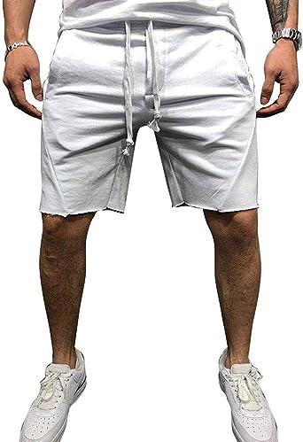 Onsoyours Uomo Pantaloni Corti Bermuda Casual Pantaloncini Uomo Lavoro Pantaloni Tasconi con Coulisse Estive Sport Jogging Allenamento Fitness Shorts