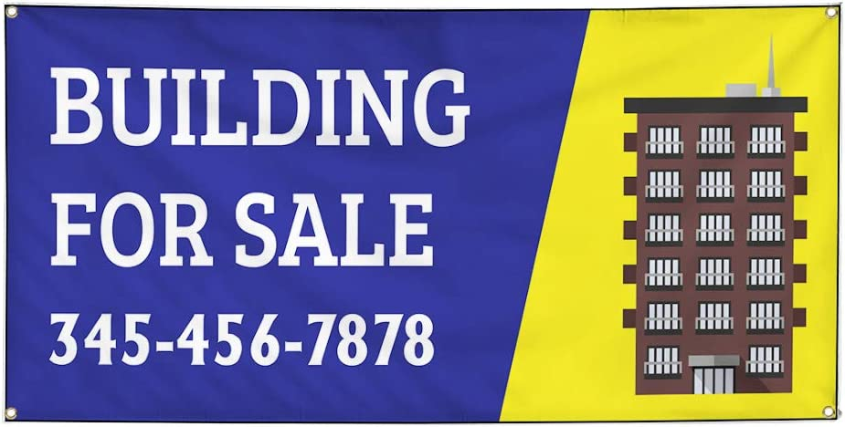 Custom Vinyl Banner Sign Multiple Sizes Building for Sale Phone Number Blue Business for Sale Outdoor Blue 10 Grommets 60inx144in One Banner