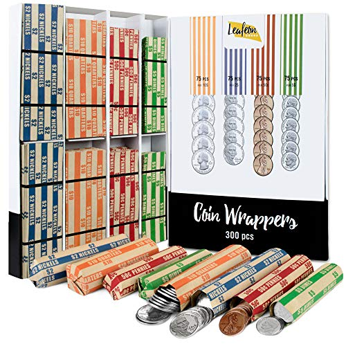 300 Assorted Coin Wrappers - Flat Coin Rolls Wrappers for Quarter, Penny, Dime and Nickel - Great Coin Organizer Can Use with Coin Roller, Counter and Sorter - Wraps Great Alternative to Coin Tubes