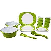 Joy Home Microwave Safe Dinner Set - 32 Pcs Twin Color Green - White