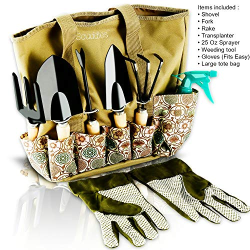 Scuddles Garden Tools Set - 8 Piece Heavy Duty Gardening tools With Storage Organizer, Ergonomic Hand Digging Weeder, Rake, Shovel, Trowel, Sprayer, Gloves Gift for Men & Women