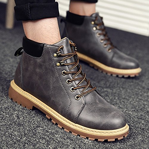 41 CN42 Colors Wear Boots Size Feifei UK7 Material 8 Trendy Shoes Resistant 3 5 Color Gray PU EU Men's Fashion Martin qRPxawFSzS