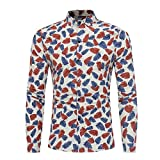 Charberry Graphic Tees For Men !Men Fashion Floral Print Leaf Button Long Sleeve Basic T Shirt Blouse Top