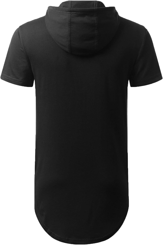 AIYINO Mens Hip Hop Short Sleeve/Long Sleeve Pullover Hoodies t Shirts A1-black