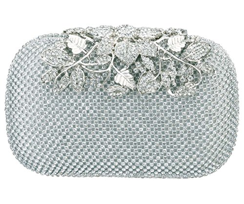 Charming Tailor Evening Bag for Women Chic Bling Floral Rhinestones Party Clutch (Silver) ()