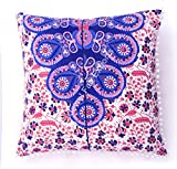 Indian 100% Cotton Cushion Cover Meditation Floor Cushion Cover Home Decor Ethnic Pillow Sham Large Pom Pom Lace Square Couch Pillow Cover Outdoor Pillow Cases Euro Sham Pillow Cover Set of 3
