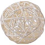 Byher 6pcs/12pcs/24pcs Colorful Handmade Wicker Rattan Balls for Garden, Wedding, Party Decorative Crafts, Bowl/Vase Fillers, Rabbits, Parrot, Bird Toys (9cm, White)