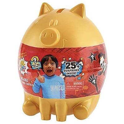Boys Kids (1) Ryans World Deluxe Golden Piggy Bank Egg Surprise (Bonus YB Exclusive Jeu De Peche) (1) Ryan's Mystery Figure Holidays Birthday Gift Set Bundle: Home & Kitchen