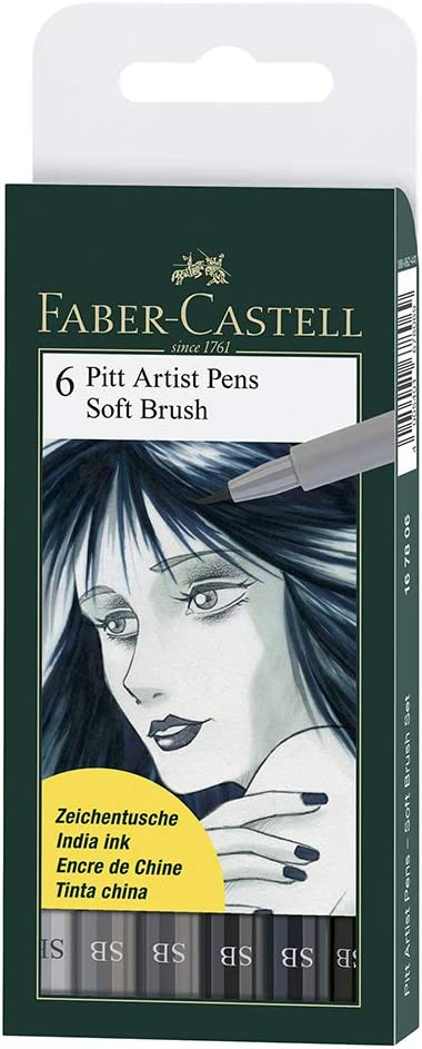 VARIOUS COLOURS FABER-CASTELL 8 PITT ARTIST PENS SOFT BRUSH