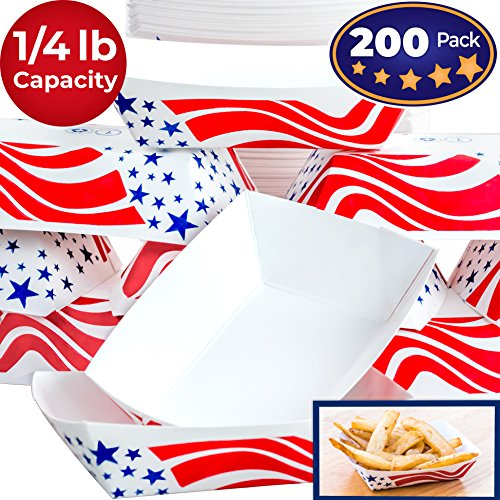 Heavy Duty, Grease Resistant .25 Lb US Flag Paper Food Tray 200 Pack. Recyclable Coated Paperboard Basket for Carnivals, Concession Stands or Fairs. Serve Fries, Popcorn and Ice Cream. Made In The USA