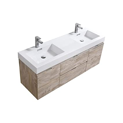 Surprising Bliss 60 Double Sink Wall Mount Modern Bathroom Vanity With Home Interior And Landscaping Ponolsignezvosmurscom
