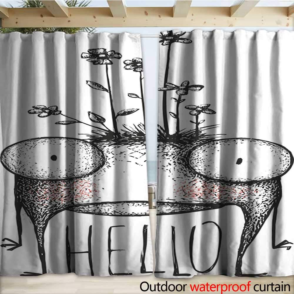 warmfamily Outdoor Waterproof Curtain Strange Hand Drawn Monster with Flowers Greeting Card Outdoor Curtain W120 x L84