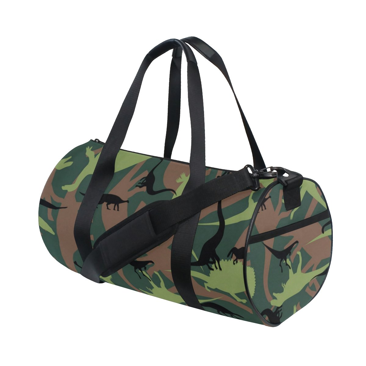 Naanle Dinosaur Camouflage Pattern Army Military Texture Camo Gym bag Sports Travel Duffle Bags for Men Women Boys Girls Kids