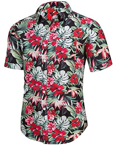 ef41640e264c Men s Casual Short Sleeve Button Down Print Aloha Beach Tropical Hawaiian  Shirt