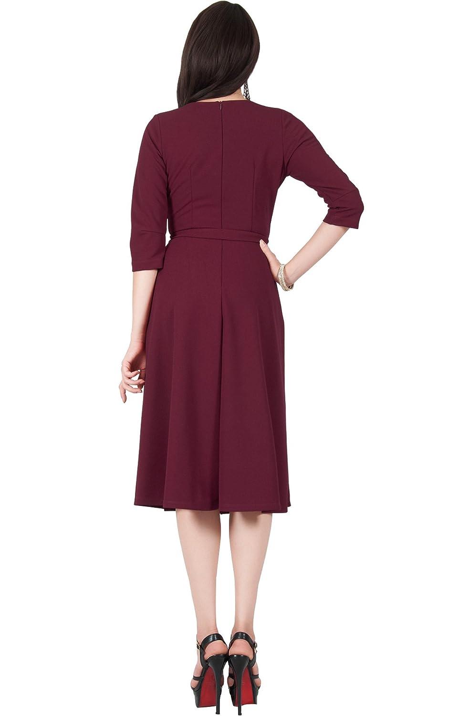 Viris Zamara Womens V-Neck Half Sleeve Flowy Wedding Semi Formal Midi Dress  at Amazon Women s Clothing store  696315142