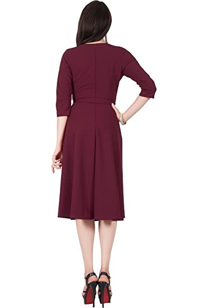 403d0693f95 Viris Zamara Womens V-Neck Half Sleeve Flowy Wedding Semi Formal Midi Dress  at Amazon Women s Clothing store