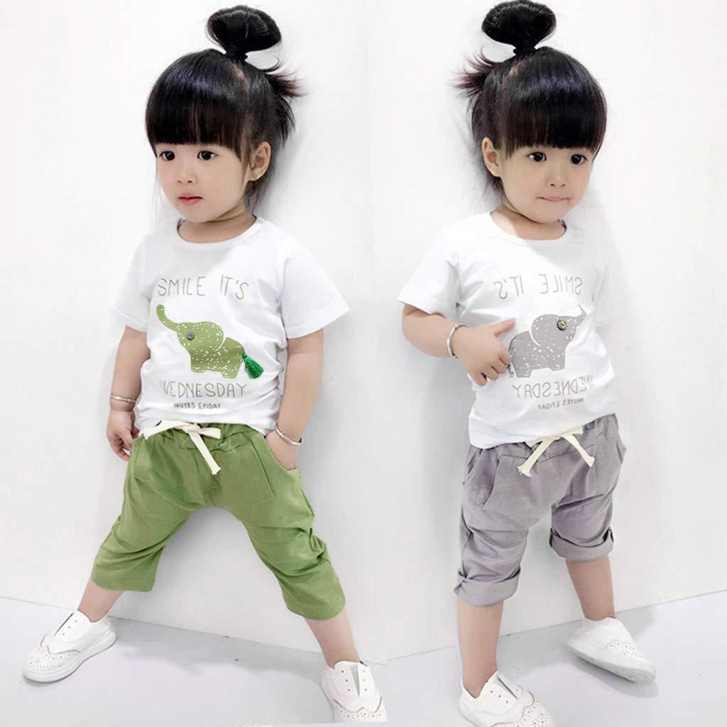 Baby Girls Summer Pajamas Set Cheap,Infant Baby Girls Cartoon Elephant Tee Tops + Shorts Pants(Green,90) by Wesracia (Image #3)