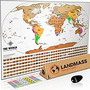 Amazon landmass scratch off world map poster original travel landmass scratch off world map poster original travel tracker map print w flags gumiabroncs Gallery