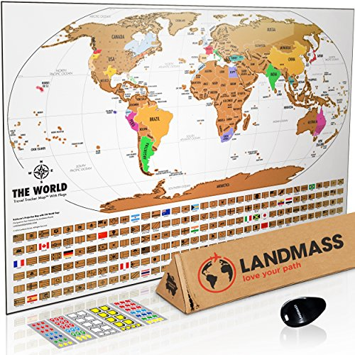 Landmass Scratch Off World Map Poster. Original Travel Tracker Map Print w/Flags, US states outlined. Clean design and vibrant colors to make your story come to life. The gift travelers (Accurate Map)