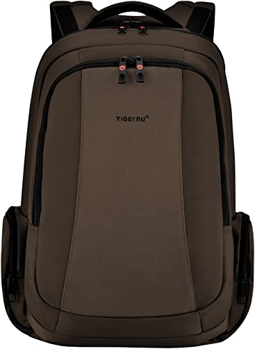 Tigernu Business Laptop Backpack Slim Anti Theft Travel Computer Backpacks Environmentally Waterproof Laptops Bag for Men Women 15.6Inch Coffee
