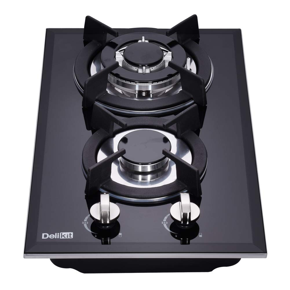 DeliKit DK123-A01S 12 inch gas cooktop gas hob stovetop 2 Burners LPG/NG Dual Fuel 2 Sealed Burners Kitchen Slope Edge Tempered Glass Built-in gas Cooktop 110V AC pulse ignition