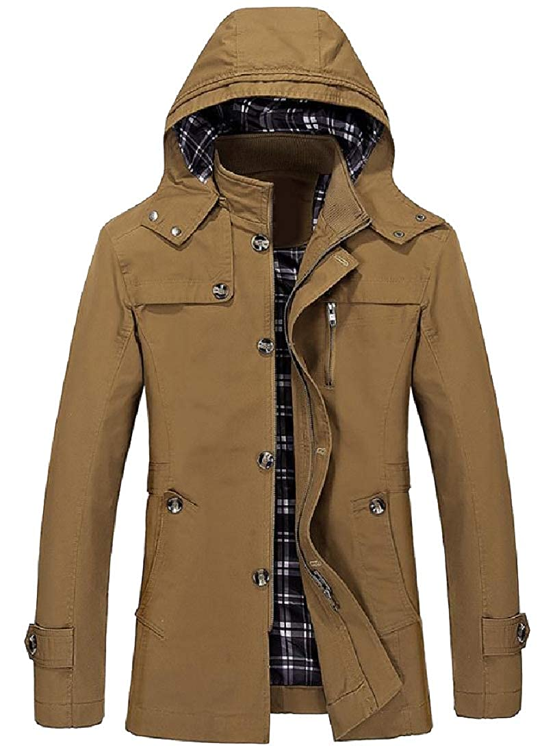 Abetteric Mens Plus-Size Open Work Trench Coat Jacket with Chin Guard
