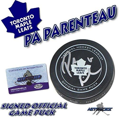 PA PARENTEAU SIGNED TORONTO MAPLE LEAFS OFFICIAL GAME PUCK - w/COA HOLOGRAM - Autographed NHL Pucks
