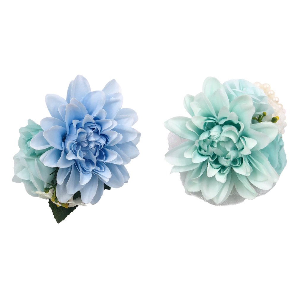 Abbie Home Real Touch Prom Corsage Boutonniere Set Flower Pin Wristlet for Party-Blue