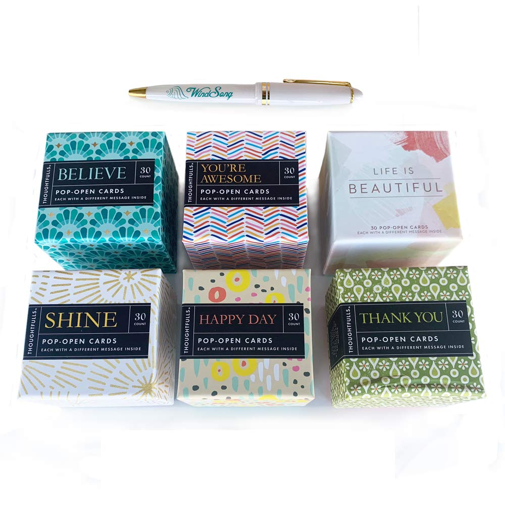 Thoughtfulls 180 Pop-Open Inspirational Cards: BELIEVE, YOU'RE AWESOME, LIFE IS BEAUTIFUL, SHINE, HAPPY DAY, THANK YOU 6-Pack + FREE Bonus WS Pen by WindSong