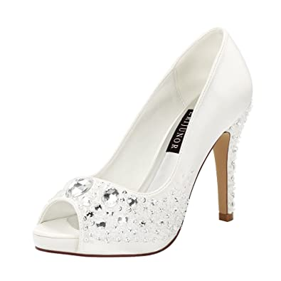 58ad85c4d2 ERIJUNOR E1055 Women Classic High Heel Platform Pumps Hand Beading Rhinestones  Bridal Wedding Shoes Ivory Size