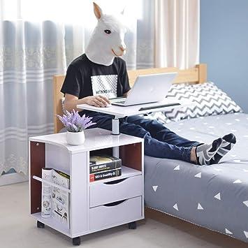 DIY Cabinet Laptop Schreibtisch Schlafzimmer Nachttisch Mit 2 Schubladen,  Multifunktionale Mobile Lagerung Nachttisch Schrank (
