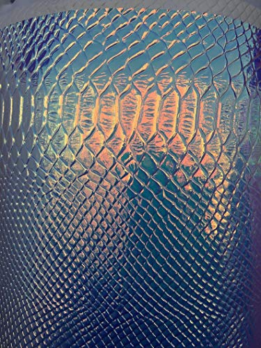 Embossed Shiny Snake - Snake Skin Embossed Holographic Laser Leather Fabric,Shiny Snake Skin Laser Leather Fabric for Bags,Wallets.Wide 54'' Sold by The Yard
