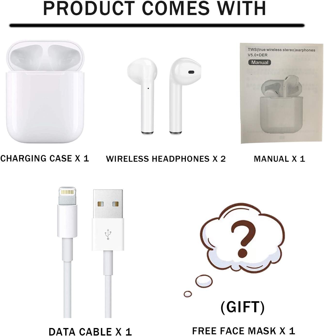 eingebautem Mikrofon,wasserdichtem IPX5 Leichtgewichtler und bequem,Spielzeit 30Hrs,kompatibel f/ür iPhone//Samsung//Airpods//Android Kopfh/örer Bluetooth 5.0,Mini drahtlose Earbuds mit Stereo 3D