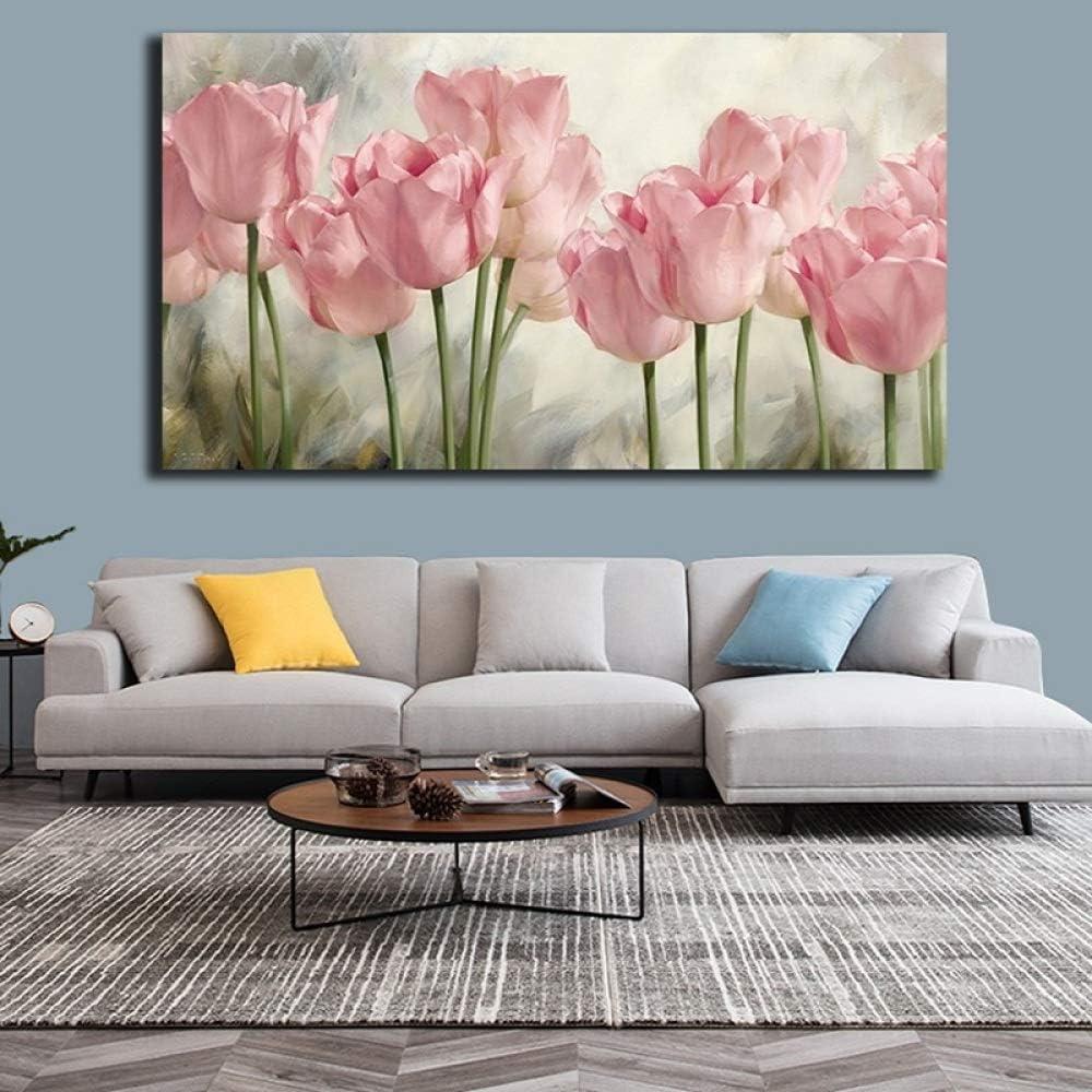 zgwxp77 Rosa tulipán Flor Cartel Pintura impresión Lienzo Cartel e impresión Arte Cuadro decoración60x90cm sin Marco