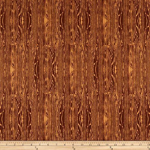 FreeSpirit Fabrics Aviary 2 Woodgrain Bark Brown Fabric by The ()