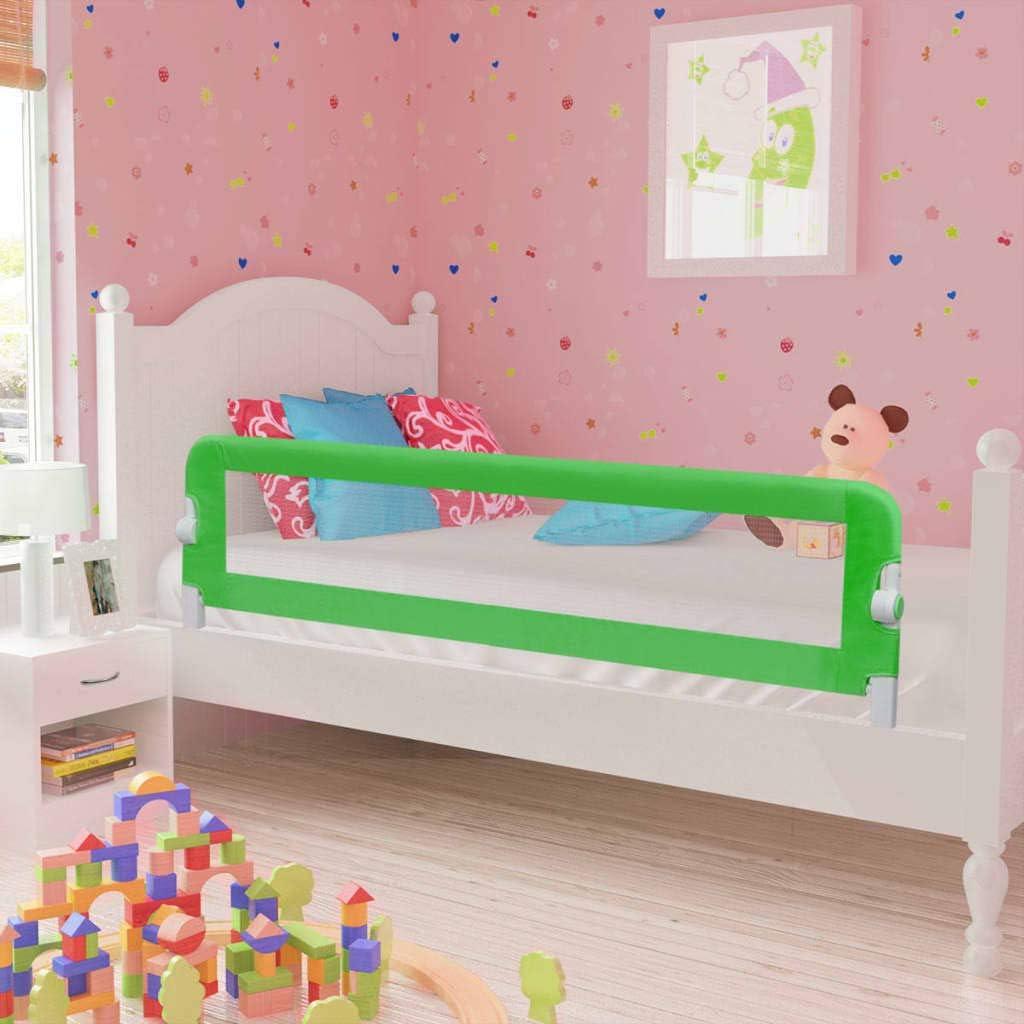 FAMIROSA Sponde Letto per la Sicurezza dei Bambini 2 pz Verde 150x42 cm