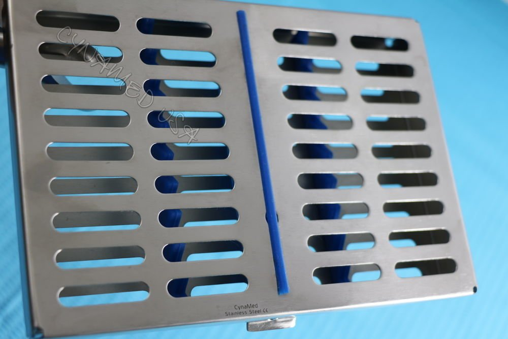 10 DENTAL AUTOCLAVE STERILIZATION CASSETTE RACK BOX TRAY FOR 10 INSTRUMENT BLUE ( CYNAMED ) by CYNAMED (Image #4)