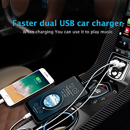 Niukamo Bluetooth FM Transmitter for Car Blue Tooth Receiver Charger MP3 Player In-Car Quickly Charging Wireless Stereo Radio Adapter Kit Hands Free Calling Dual USB Ports Charge 5V (FM TRANSMITTER) by Niukamo (Image #5)