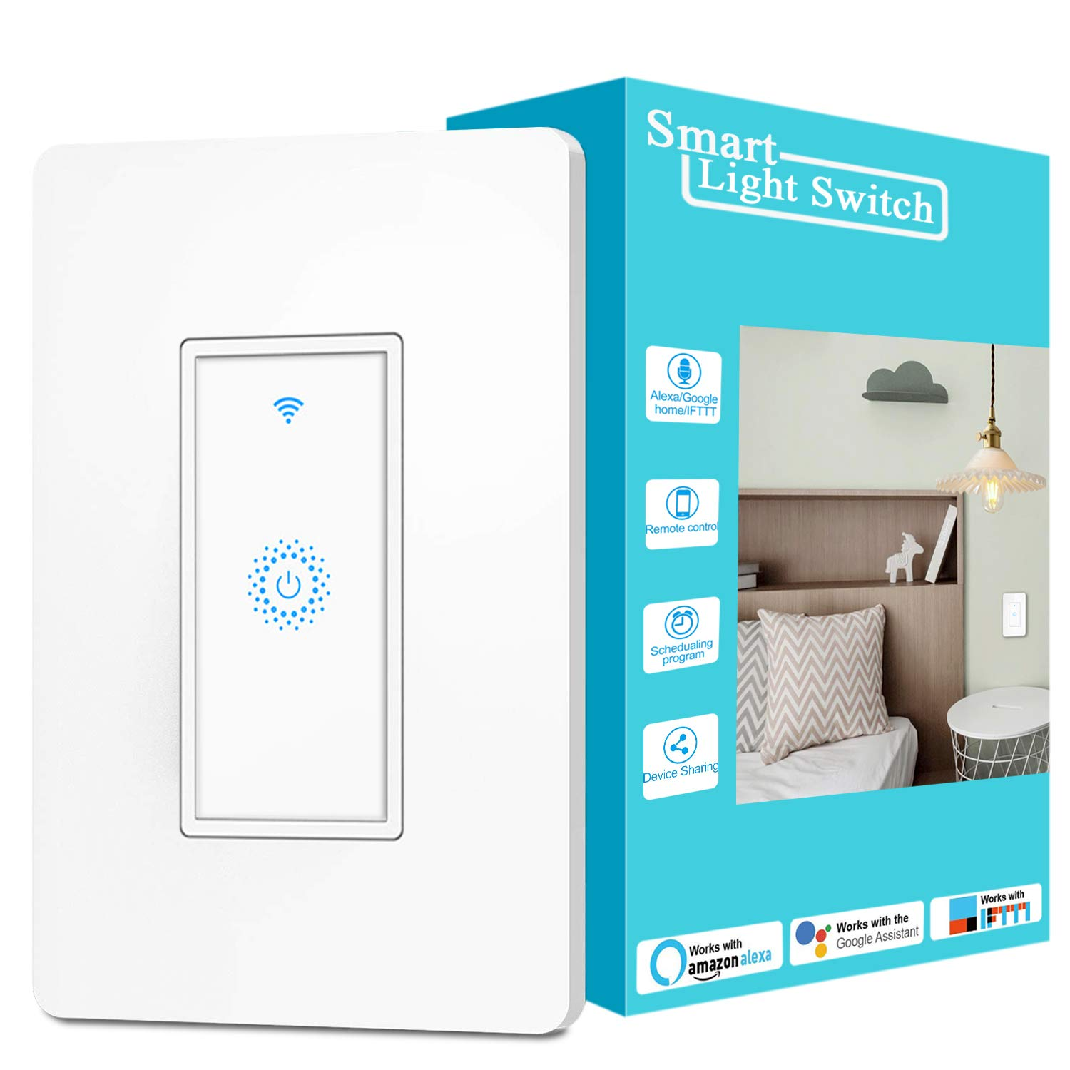 Alexa Smart Switch, Smart Light Switch Work with Google Home IFTTT, Voice and Remote Control, 2.4G WIFI, Schedules and Timers, Single-Pole, No Hub Required, Neutral Wire Required