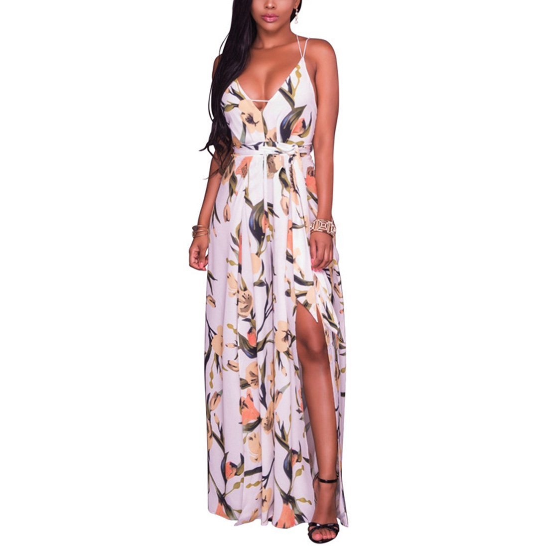 afbeacff20dd YYF Womens Sexy V-Neck Backless Floral Print High Split Beach Romper Maxi  Dress Jumpsuit  Amazon.co.uk  Clothing