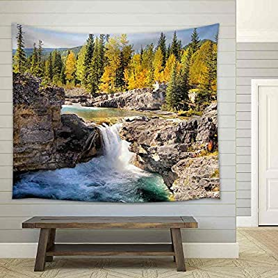 Alluring Work of Art, it is good, Waterfall in The Kananaskis Region of The Canadian Rockies During Autumn Fabric Wall